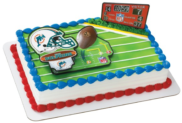 Miami Dolphins NFL Birthday Cupcake Rings Favors Partyware
